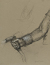 Hand Holding Hose by Elizabeth Torak charcoal and conte ~ 12 1/4 x 9 1/2