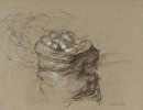 Upright Sack of Potatoes by Elizabeth Torak charcoal and white chalk ~ 9 1/2 x 12 1/4