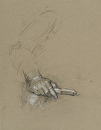 Hand Holding Potato Peeler by Elizabeth Torak charcoal and white chalk ~ 12 1/4 x 9 1/2