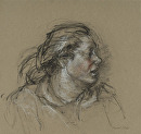 Head of Kitchen Worker Peeling Potatoes by Elizabeth Torak charcoal and conte ~ 11 3/4 x 12 1/4