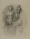 Kitchen Worker Walking Away by Elizabeth Torak charcoal and white chalk ~ 19 1/4 x 15