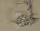 Sack of Potatoes On Its Side by Elizabeth Torak charcoal and white chalk ~ 9 1/2 x 12 1/4