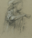 Sous Chef Adding Salt #2 by Elizabeth Torak charcoal and conte ~ 15 1/8 x 12 3/8