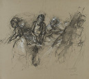 Sous Chef Chopping Carrots with Surrounding figures by Elizabeth Torak charcoal and conte ~ 18 3/4 x 21 5/8