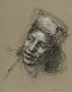 Head Study for Potato Peeler Listening by Elizabeth Torak charcoal and conte ~  x