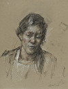 Head Study, Sous Chef Chopping Carrots by Elizabeth Torak charcoal and conte ~  x