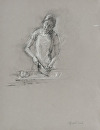 Sous Chef Chopping Carrots, � figure by Elizabeth Torak charcoal and white chalk ~  x