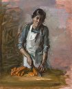 "Sous Chef Chopping Carrots by Elizabeth Torak Oil ~ 18"" x 15"""