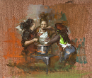 "Study of Three Cooks by Elizabeth Torak Oil ~ 10"" x 12"""