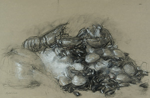 Seafood Still Life by Elizabeth Torak charcoal and conte ~ 12 1/2 x 19 1/4