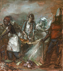 "Study of Sous Chef Chopping Carrots with Surrounding Figures by Elizabeth Torak Oil ~ 10"" x 9"""