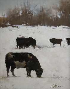 "2011, Cattle In Winter by Joseph Alleman Oil ~ 10"" x 8"""