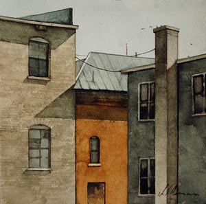 "2012, Building Backs by Joseph Alleman Watercolor ~ 7"" x 7"""