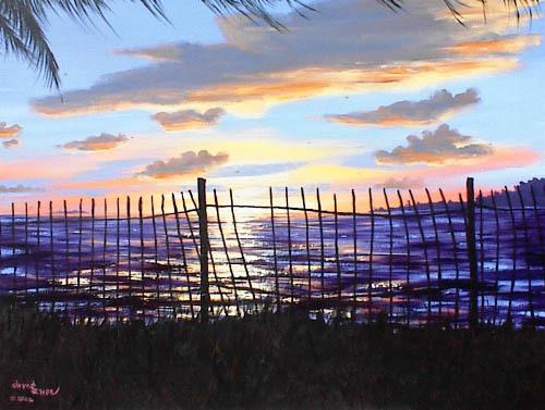 Sunset Through a Key West  Fence - Acrylic