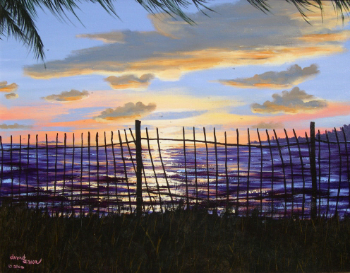Sunset Through a Fence in Key West - Acrylic