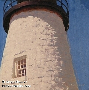 "Whitewash - Pemaquid Point Light by Brian Kliewer Oil ~ 8"" x 8"""