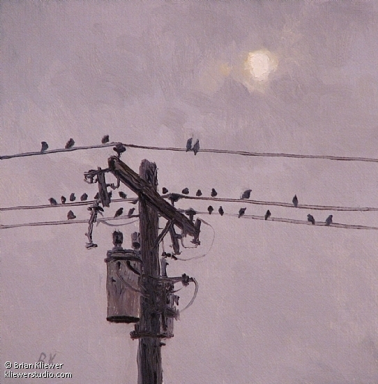 "Birds and Sun by Brian Kliewer Oil ~ 4"" x 4"""