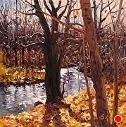 "Autumn Stream by Brian Kliewer Oil ~ 5"" x 5"""
