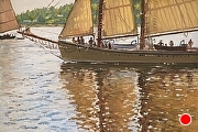 "American Eagle, Leaving Rockland Harbor by Brian Kliewer Oil ~ 4"" x 6"""