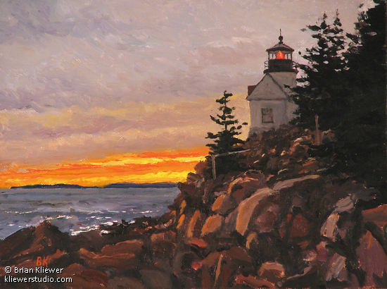 "Sunset At Bass Harbor by Brian Kliewer Oil ~ 6"" x 8"""