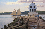 "The Stephen Taber Passing The Rockland Breakwater by Brian Kliewer Oil ~ 24"" x 36"""