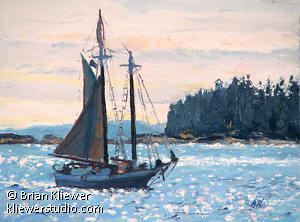 "The Isaac H Evans, Heading Home by Brian Kliewer Oil ~ 6"" x 8"""