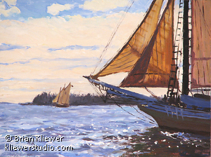 "Maine Windjammers by Brian Kliewer Oil ~ 6"" x 8"""