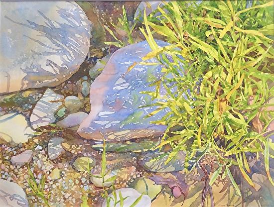 Sandbar Shadows, Sugar Creek - Watercolor