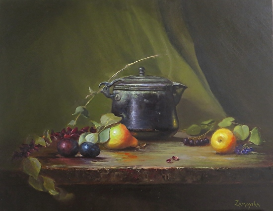 Black Pot and Damson Plums (Ref 997) - Oil