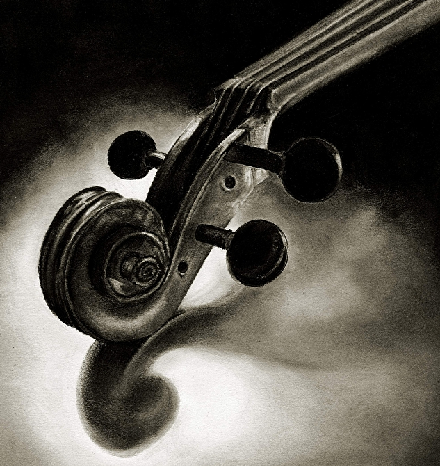 Violin...center stage  (large) by Marsha Robinett Carbon Pencil ~ 12 x 11