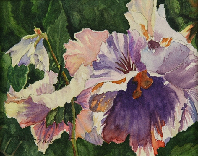 Petunia by Marsha Robinett Watercolor ~ 5 x 6