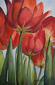 Sunlit Tulips by Marsha Robinett Watercolor ~ 17.5 x 11.5