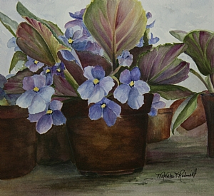 African Violets in Pot by Marsha Robinett Watercolor ~ 9 x 10