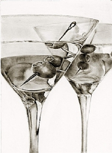 *Martini Time by Marsha Robinett Carbon and Graphite Pencil ~ 10 x 7