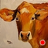"Virginia Cow Girl by Norma Wilson Oil ~ 12"" x 12"""