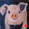 "Piggy Wiggy by Norma Wilson Oil ~ 6"" x 6"""