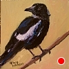 "MIss Magpie by Norma Wilson Oil ~ 6"" x 6"""