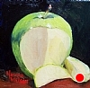 Granny Smith Apple by Norma Wilson Oil ~ 6 x 6
