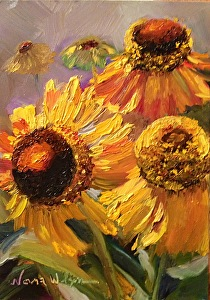 "Coneflower Dance by Norma Wilson Oil ~ 5"" x 7"""