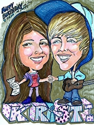 Kristi and Justin Beiber by  Anthe Marker ~ 11 x 8.5""