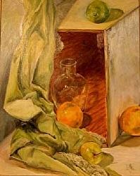 "a.4)  Orange Still Life by  Anthe Oil ~ 20"" x 24"""