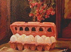 "a.5.) Egg Still Life by  Anthe Oil ~ 11"" x 14"""