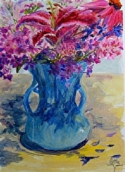 "a.9) Greeting with Flowers by  Anthe Acrylic ~ 14"" x 11"""