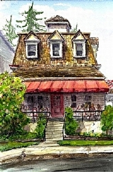 """b.3)  Bruno's Restaurant by  Anthe Watercolor ~ 10"""" x 7"""""""