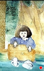 """g 1.) Girl with the gold box by  Anthe Intaglio - Etching ~ 13 1/2"""" x 7 1/4"""""""
