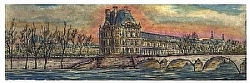 """h. 1) le Louvre Musee' by  Anthe Intaglio - Etching ~ 3 1/4"""" x 9 3/4"""""""
