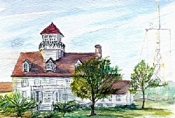 """s.4) Coast Guard Station St. Simons Island, GA by  Anthe Watercolor ~ 4"""" x 6"""""""