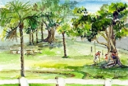 """s.5) the Park- St. Simons Island, GA by  Anthe Watercolor ~ 4"""" x 6"""""""