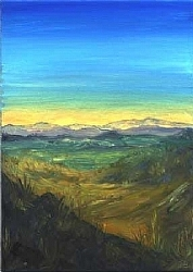 G.13)  Sunset view from the train by  Anthe Oil ~ 7 x 5
