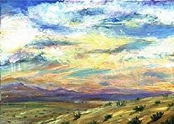 NW   5)  Sunset in theLand of Enchantment by  Anthe Oil ~ 5 x 7